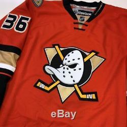 John Gibson Beckett Coa, Anaheim Ducks Rbk Premier Orange Signé