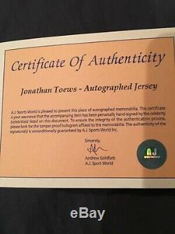 Jonathan Toews Chandail Autographié Avec Coa