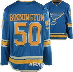 Jordan Binnington St Louis Blues - Maillot Breakaway Fanatics Suppléant Bleu Signé