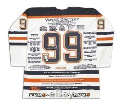 Maillot De Carrière Blanc Wayne Gretzky Signé Ltd / 99 Edmonton Oilers Wga / Uda
