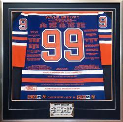 Maillot De Carrière Encadré Wayne Gretzky Signé Wga / Uda Ltd / 99 Oilers D'edmonton