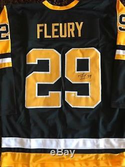 Marc Andre Fleury Chandail Autographié XL Du Coa, Chandail Signé Des Penguins De Pittsburgh, Signé