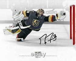 Marc-andre Fleury Vegas Golden Knights Signés 16x20 Vs Toronto En Plongeon Photo