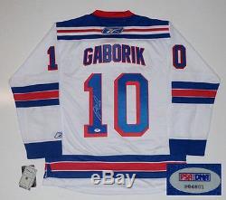 Marian Gaborik A Signé Le New Jersey Rangers Rbk Premier Jersey Psa / Dna Authentifié