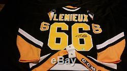 Mario Lemieux A Signé Le Coa RPM Du Maillot CCM Penguins Pro1993! Privatesigning