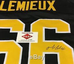 Mario Lemieux Autographié Signé Jersey Coa Penguins De Pittsburgh
