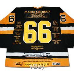 Mario Lemieux Carrière Jersey Autographié Ltd Ed 166 Pittsburgh Penguins