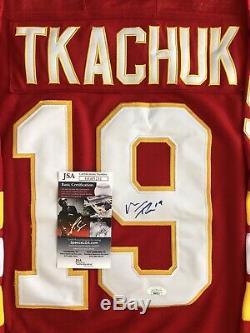 Matthew Tkachuk Signé Flames De Calgary Jersey Jsa Coa # 19 Étoiles De La LNH Rare