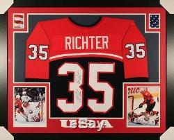 Mike Richter Signé Team USA 35x43 Encadré Par Coutume Jersey (jsa) N Rangers Y Gardien De But