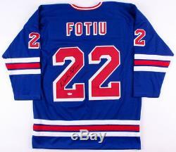 Nick Fotiu Maillot Signé Des Rangers De New York (psa Coa) Carrière De Joueur 19731990