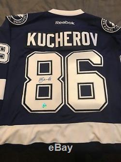 Nikita Kucherov A Signé Le Maillot Reebok Bleu Lightning De Tampa Bay