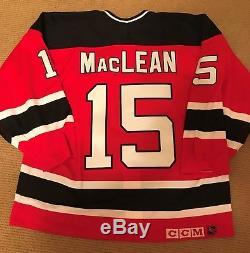Nj Devils Maillot John Maclean CCM Rouge Ultrafil Taille 54 Rétro Authentique