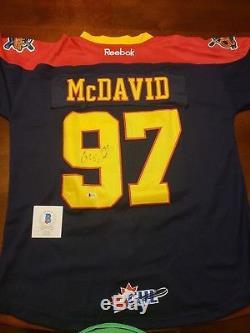 Nwt Sewn Connor Mcdavid Erie Otters Maillot Beckett Bsa Certifié Signature Auto
