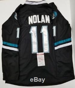 Owen Nolan, Chandail Personnalisé Autographié Par San Jose Sharks Sz Xl. Témoin Jsa