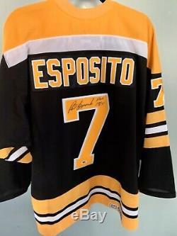 Phil Esposito Autographié / Signé Jersey Jsa Coa Boston Bruins Hof Taille LNH L