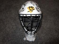 Pitgugh Penguins Pittsburgh 2019 Signé De Casque De Masque De Gardien De But, Coa, Crosby Malkin Murray