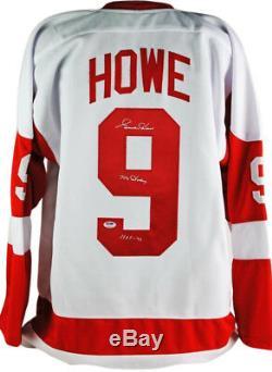 Red Wings Gordie Howe M. Hockey Hof 72 Blanc Authentique Signé Jersey Psa / Adn
