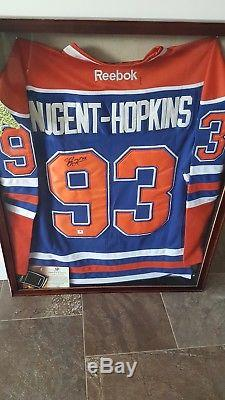 Ryan Nugent-hopkins Maillot Autographié Signé Par Les Oilers D'edmonton, Encadré Nouveau Avec Aco