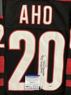 Sebastian Aho Signé Hurricanes De La Caroline Jersey Psa / Adn Coa # 20 NHL All Star