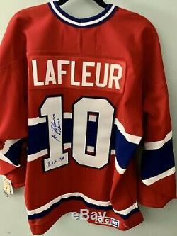 Signé Guy Lafleur Canadiens De Montréal Authentique Rouge CCM Vintage Jersey Jsa Hof L