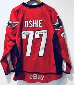T. J. Oshie 2018 Coupe Stanley Signé Washington Capitals Tj Chandail Autographié Jsa
