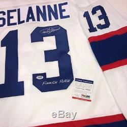 Teemu Selanne A Signé Les Jets De Winnipeg CCM 1993 Rookie Inscribed Jersey Psa / Dna Coa