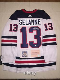 Teemu Selanne Heritage Winnipeg Jets - Maillot Adidas Authentic LNH Signé Rare
