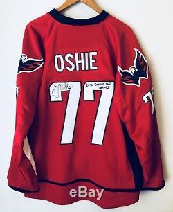 Tj Oshie Les Champions De La Coupe Stanley 2018 Ont Signé Le Maillot Jsa Des Capitals De Washington