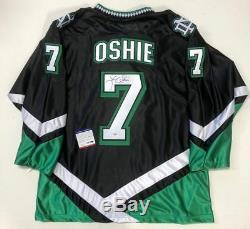 Tj Oshie Signé Fighting Sioux Dakota Du Nord Noir Jersey Psa / Adn Capitals Coa