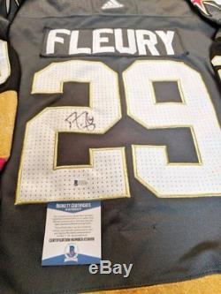 Vegas Golden Knights Maillot Adidas Noir De La LNH Autographié Marc-andré Fleury