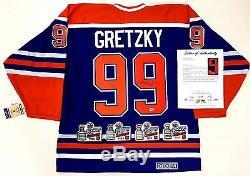 Wayne Gretzky A Signé Les Oilers D'edmonton 4x Jersey De Champion De La Coupe Stanley Psa Loa Aa06508