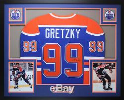 Wayne Gretzky Autographié Et Bleu Oilers Framed Beckett Coa D9-l