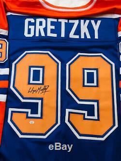 Wayne Gretzky Autosigné Oilers D'edmonton Avec Coa