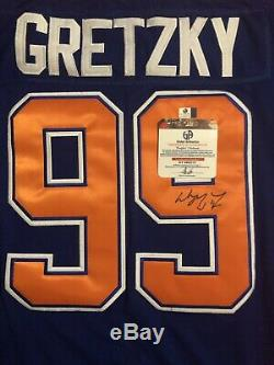 Wayne Gretzky Maillot Blue Capitains Signé Oilers (coa)