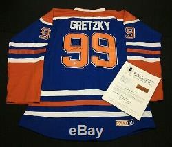 Wayne Gretzky Signé Oilers D'edmonton Hockey Jersey Hof Bas Beckett A14820