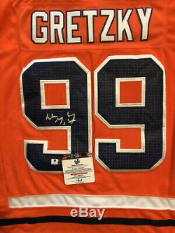 Wayne Gretzky Signé Oilers D'orange Jersey (coa)