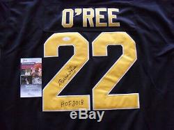 Willie O'ree Autographié Signé Boston Bruins Jsa Coa Inscribed Hof 2018